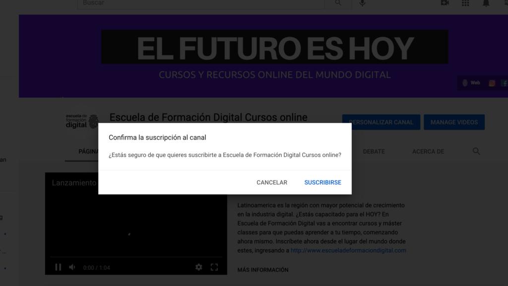 vista previa enlace suscribirse a youtube canal channel id escuela de formacion digital youtuber suscriptores